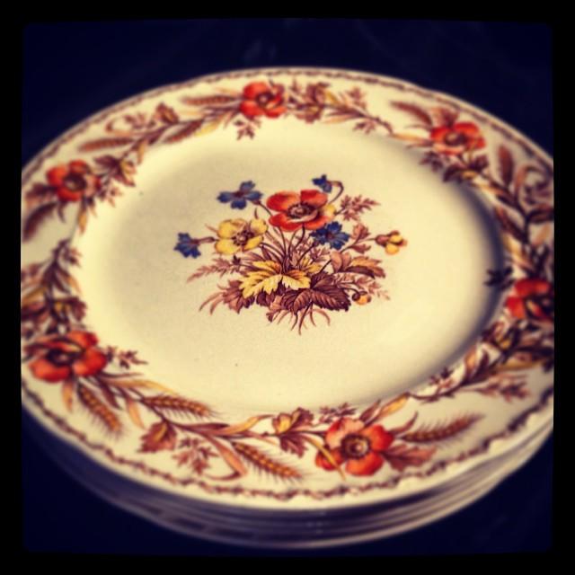 Vintage Autumn Dessert Plates