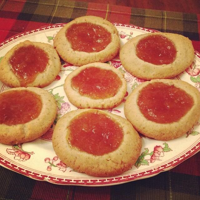 Walnut Peach Apricot Thumbprint Cookies - Tiny New York Kitchen