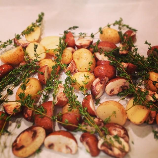 Roasted Potatoes & Mushrooms