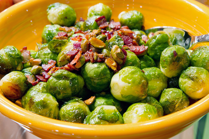 Brussels Sprouts With Bacon & Roasted Pistachios