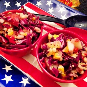 Cabbage, White Bean & Nectarine Salad