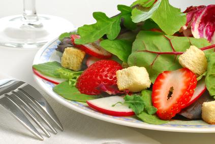 Spring Salad With Strawberries & Creamy Orange Avocado Dressing