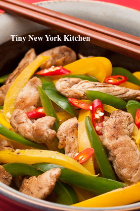 Stir-Fried Chicken With Green & Yellow Peppers