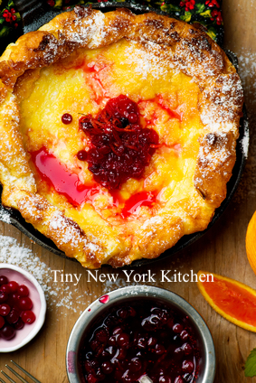 Dutch Baby With Cranberry Orange Sauce