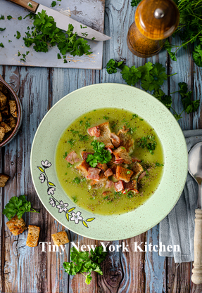 Spring Pea Soup With Garlic Croutons