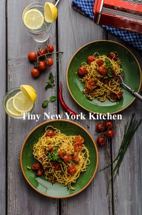 Spaghetti With Roasted Tomatoes & Lemon