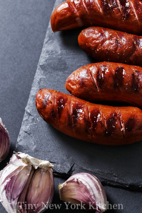 Grilled Sausages With Cabbage