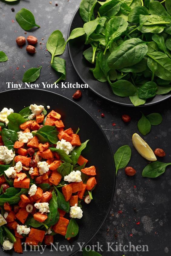 Sweet Potato Salad With Spinach, Feta & Hazelnuts