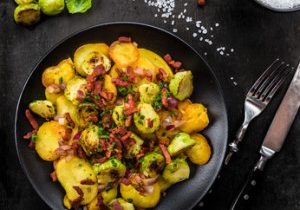Roasted Potatoes With Brussels Sprouts & Bacon