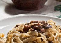 italian pasta tagliatelle with porcini mushroom