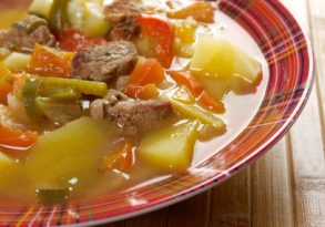 beef soup Lecho.Lecso  Hungarian  which  peppers and tomato.